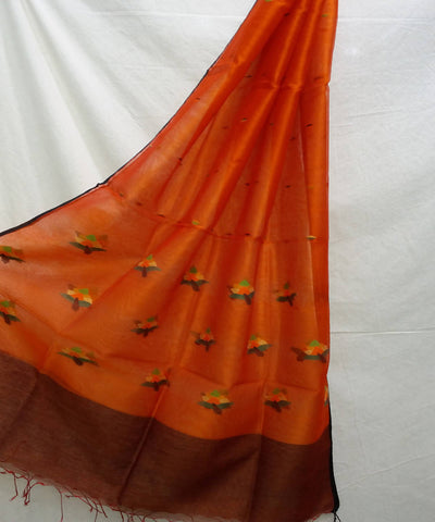 Orange handwoven jamdani silk dupatta