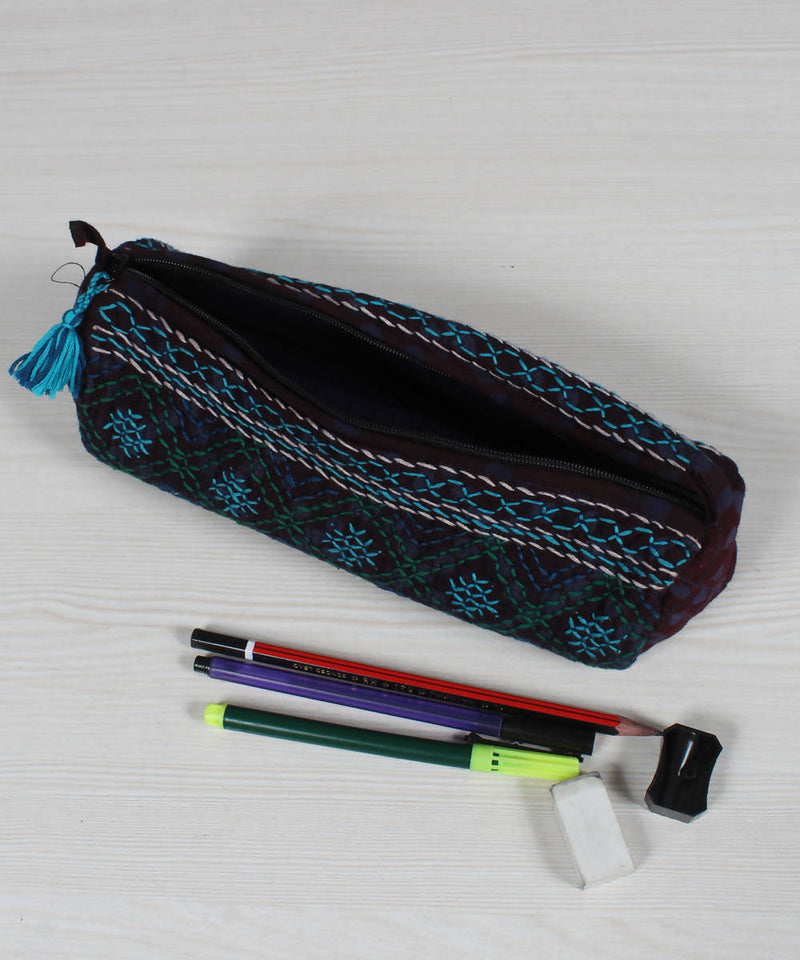 Blue Black Lambani Embroidery Pencil Pouch