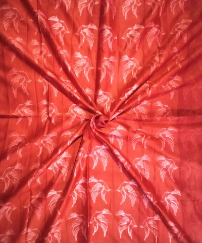 Candy Red Shibori Hand Print Chanderi Kurta Fabric