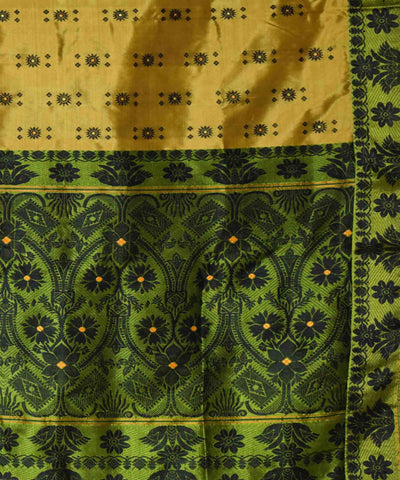 Olive Colour with Green Contrast Assam Silk Saree