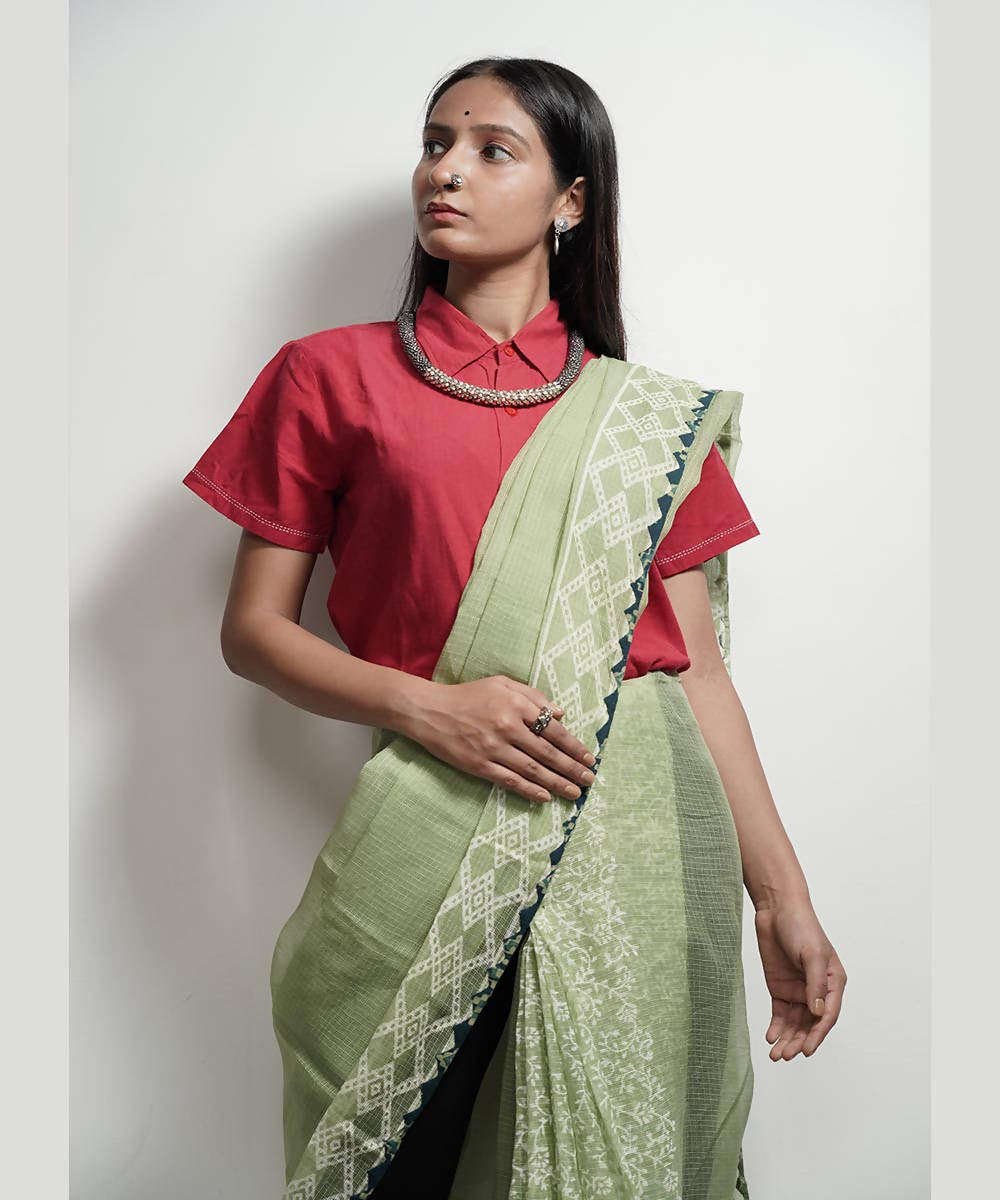 Green handblock print with applique work kota doria cotton saree