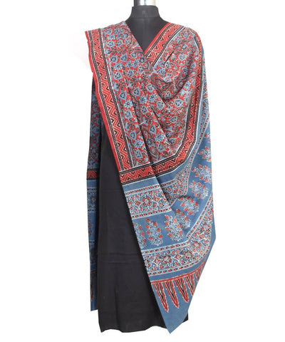 Ajrakh Hand Print Red and Grey Cotton Dupatta