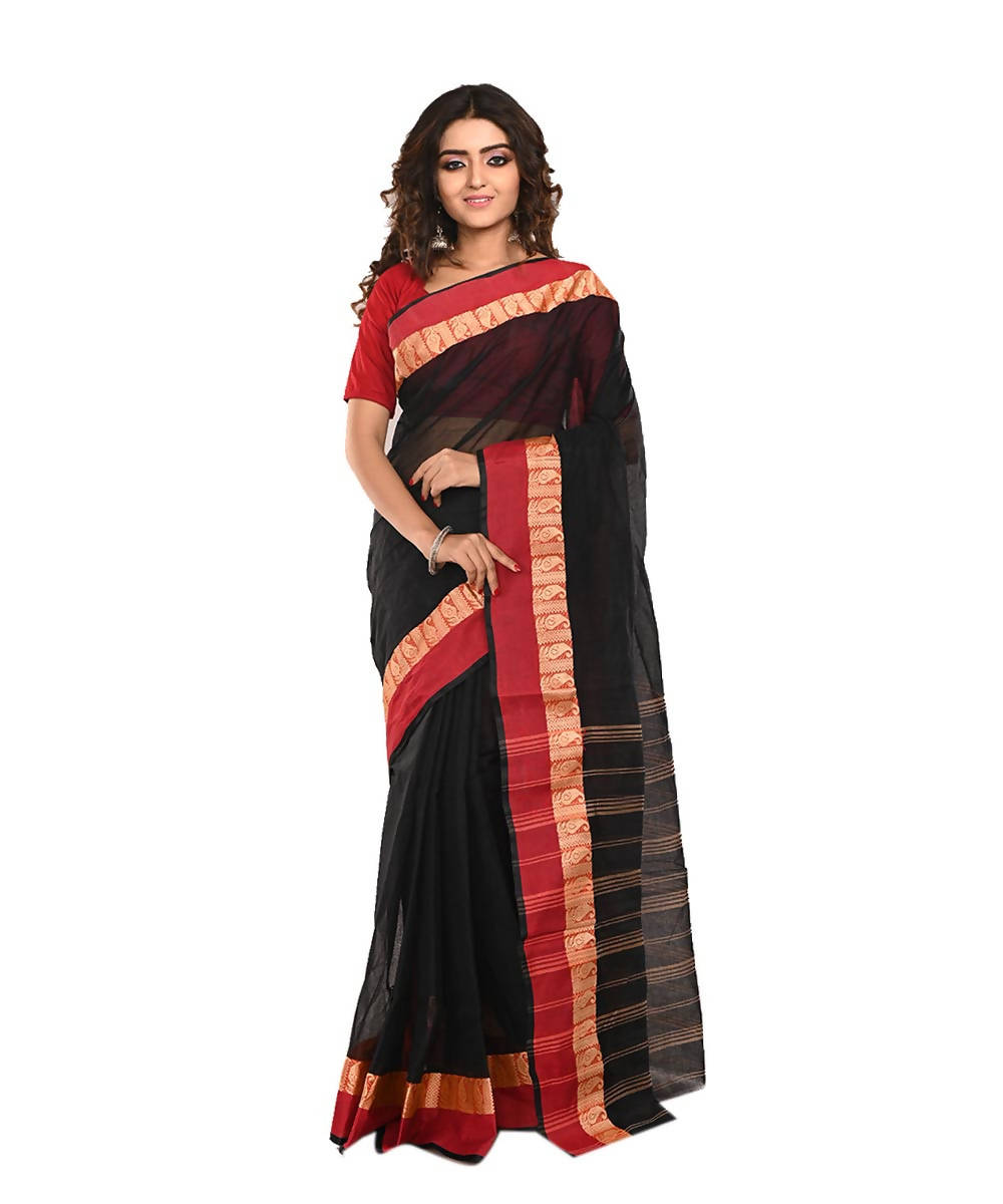 Black Red Bengal Handloom Cotton Saree