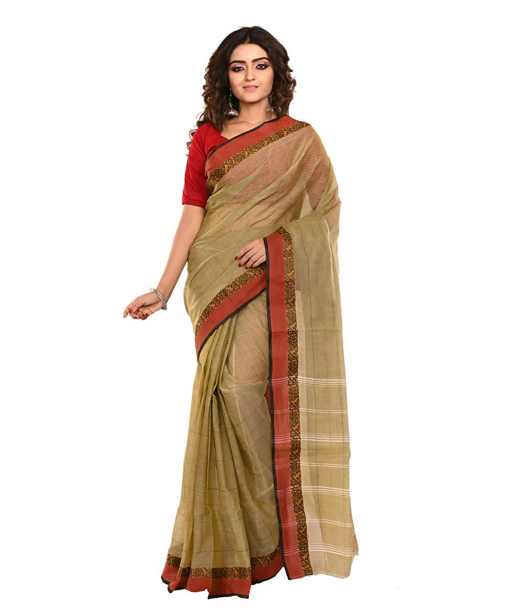 Brown Bengal Handloom Cotton Saree