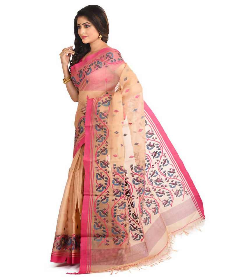 Resham shilpi cream bengal silk saree with handwoven jamdani work