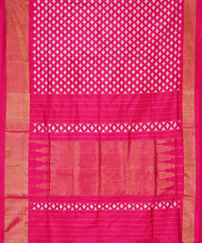 Pink White Handloom Pochampally Silk Saree