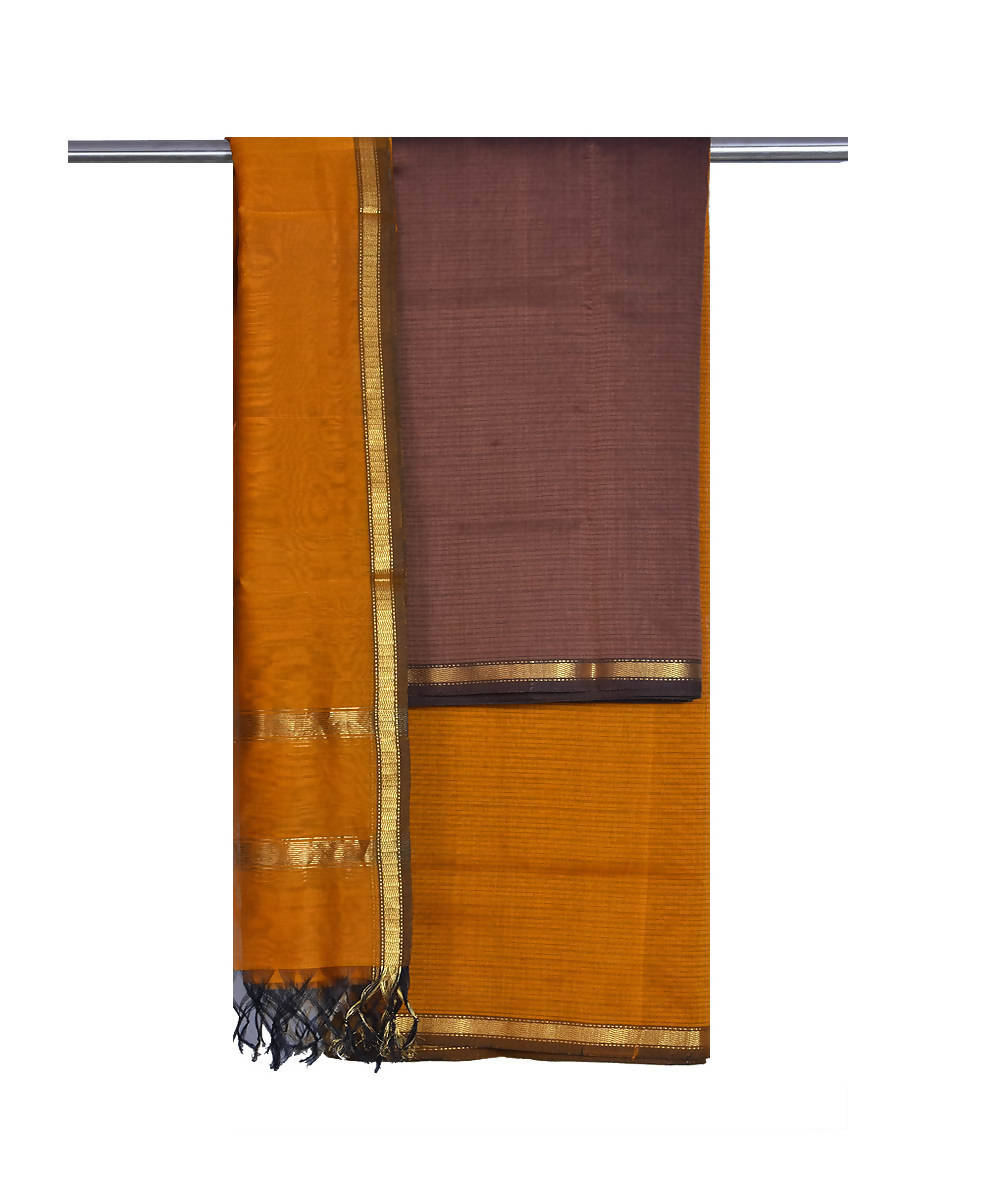 Maheshwari Handloom Brown Sico Dress Material