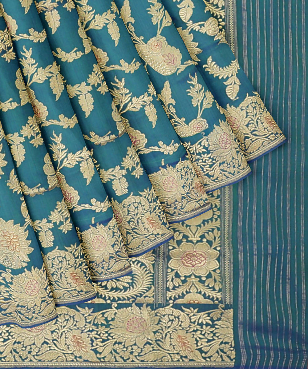 Sea blue handwoven silk banarasi saree
