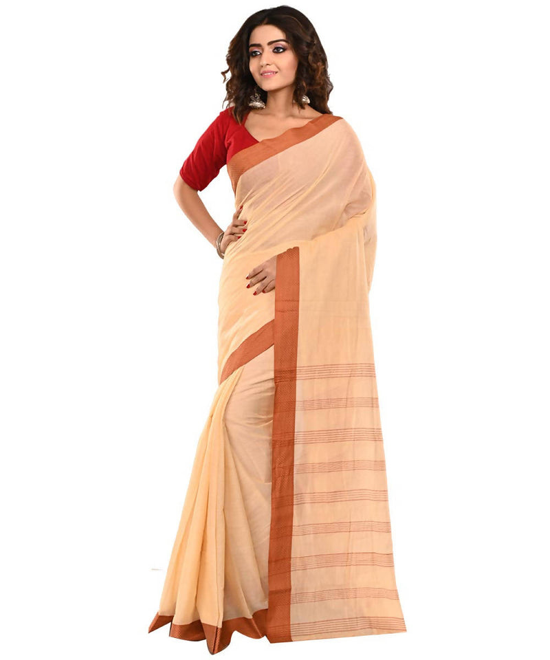 Bengal Light Orange Handloom Cotton Saree