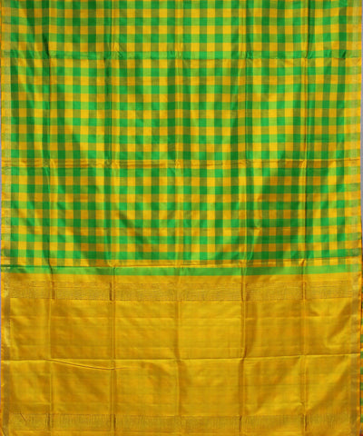 Green Yellow Karnataka Handloom Silk Saree