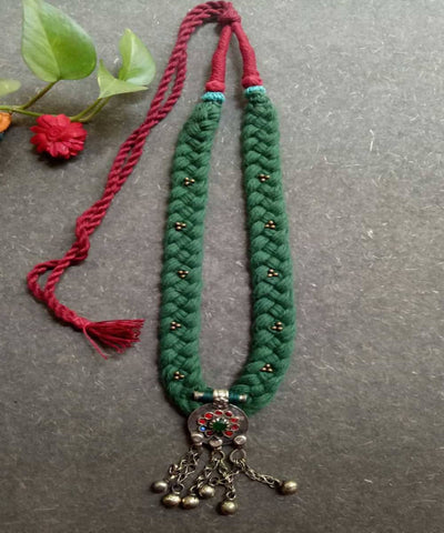 Dark green braided silver beads long necklace