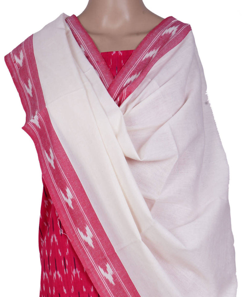 Pink White Handloom Ikkat Cotton Suit Set