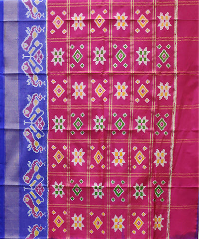 Dark Pink and blue handwoven pochampally ikkat silk lehanga material