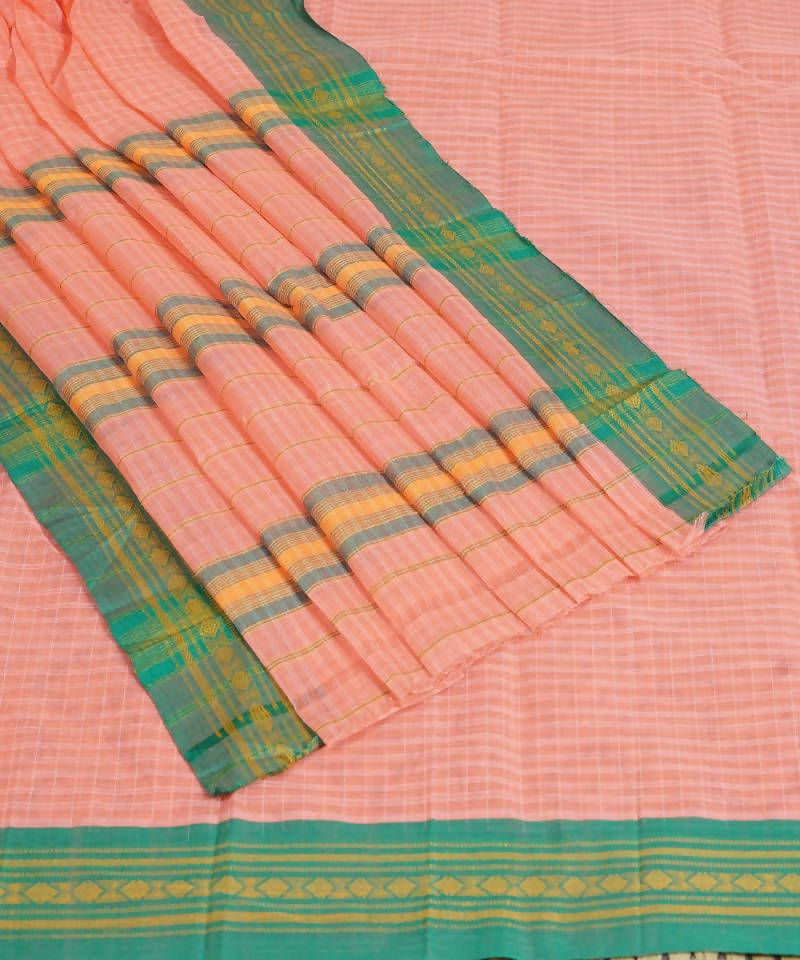 Handloom Light Salmon Narayanpet Cotton Saree