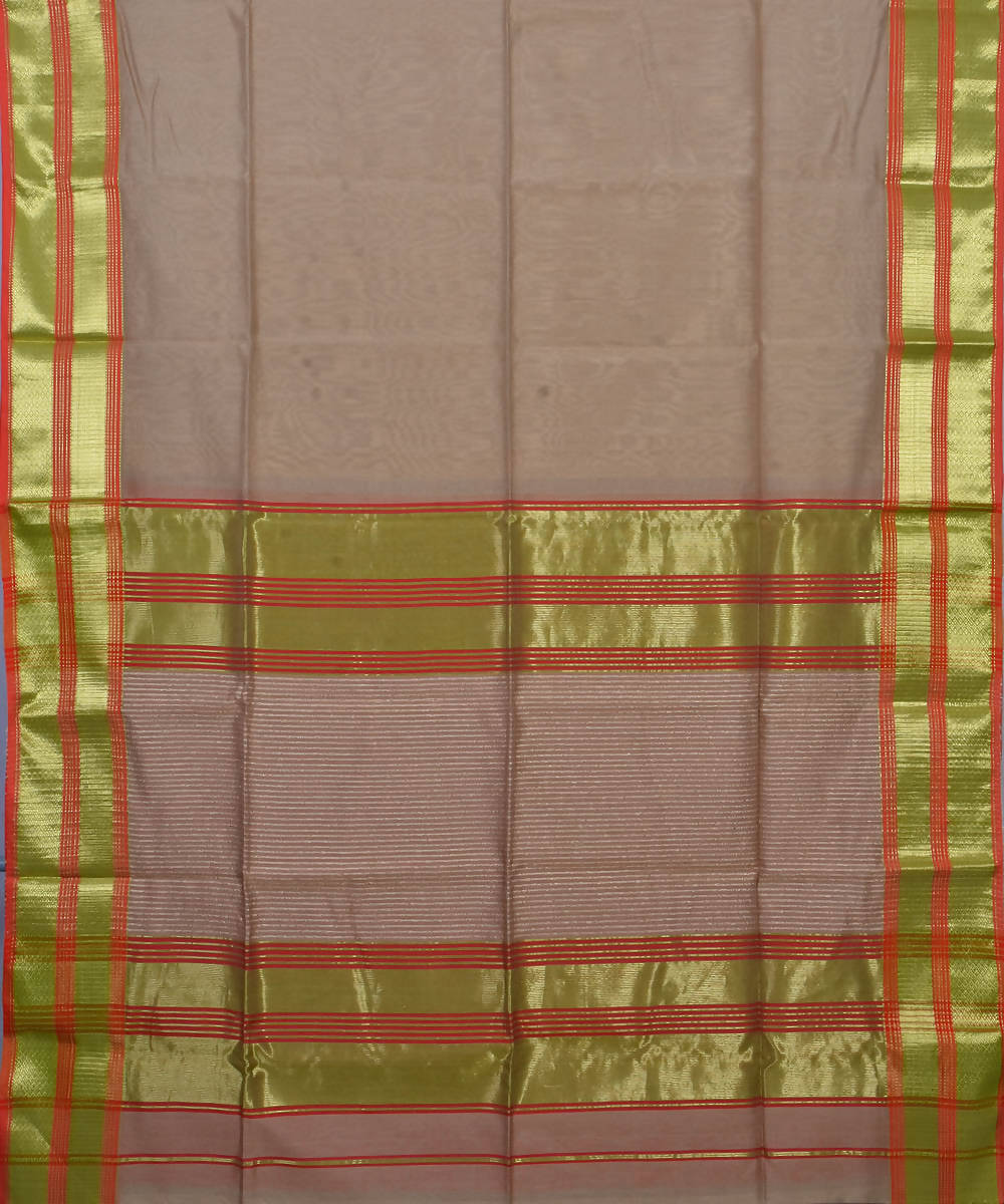 Handloom Beige Maheshwari Cotton Silk Saree