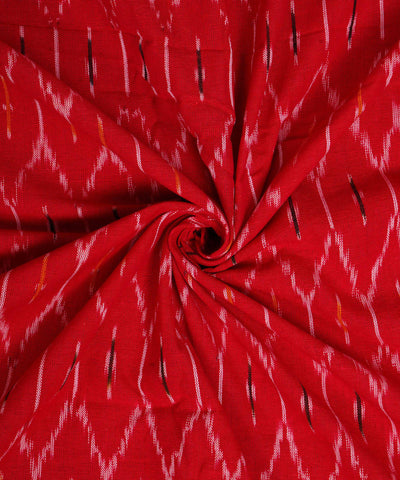 Red Handloom Pochampally Ikkat Cotton Fabric