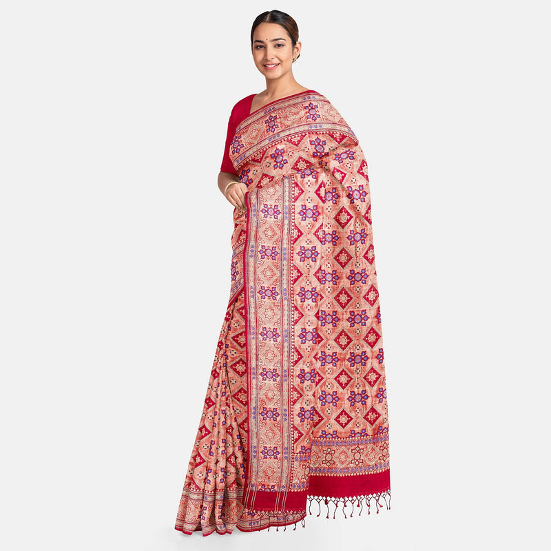 Biswa Bangla Handwoven Silk Saree - Deep Red