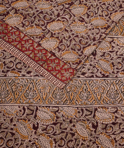 Hand Block Print Cream Kalamkari Cotton Saree