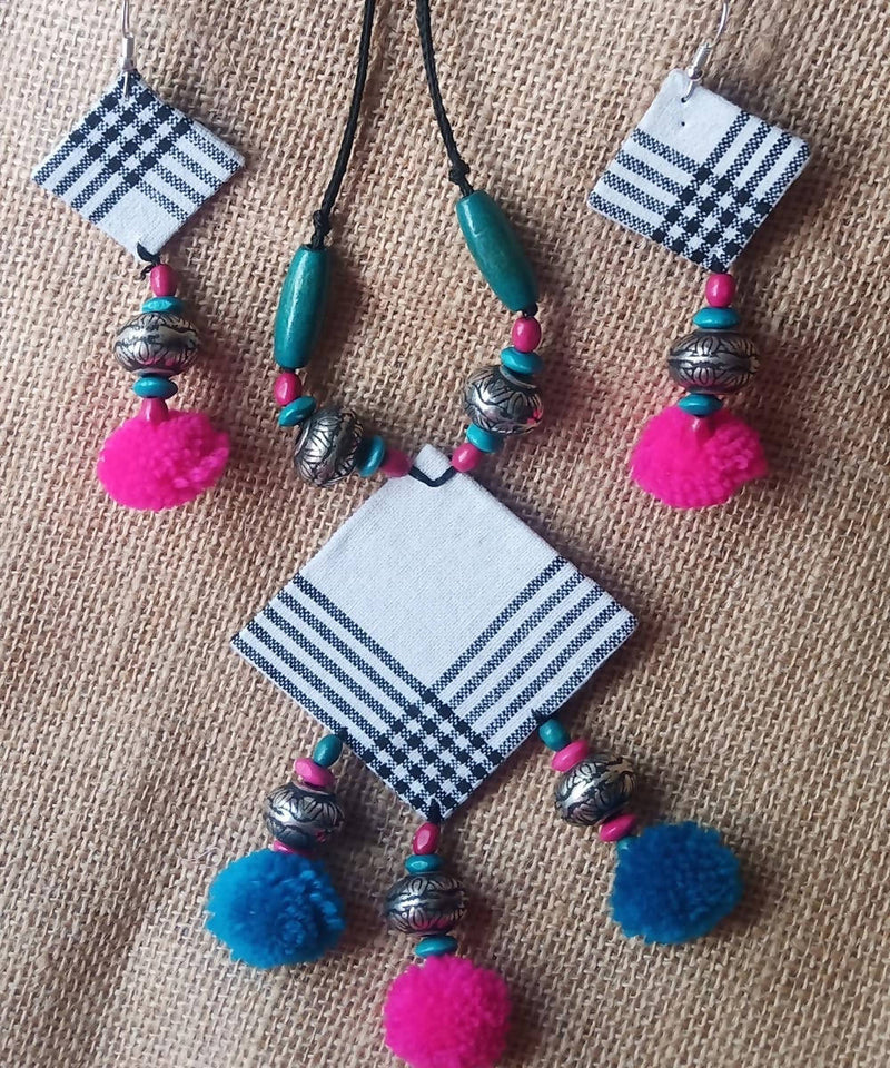 Hand painted Fabric Necklace and Earring Jewellery set