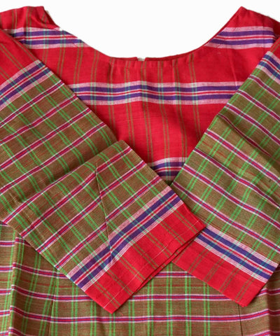Green Red Handloom Gamcha Checks Cotton Crop Top Blouse