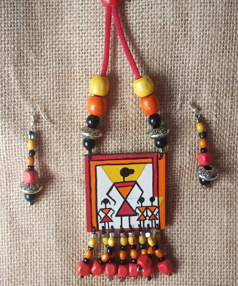 Warli Hand Painted Fabric Necklace And Earring Jewelry Set