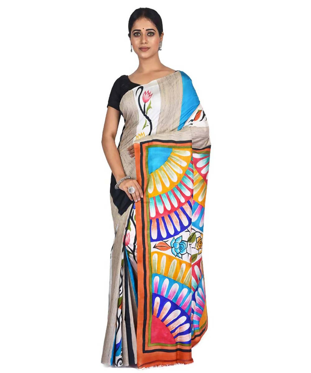 Multicolor hand painted handloom silk with tussar ketia stripe saree