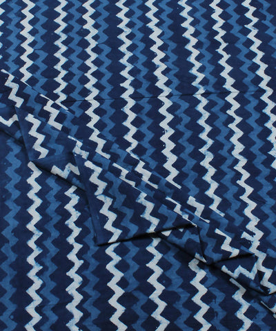 Stripe Dabu Block Print Indigo Cotton Fabric