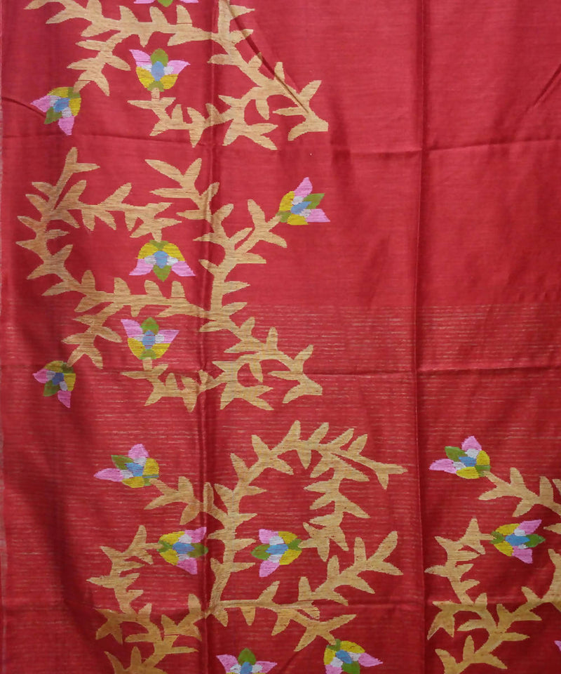 Handwoven bengal jamdani silk red saree