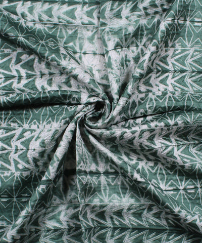 Shibori Chanderi White Green Kurta Fabric