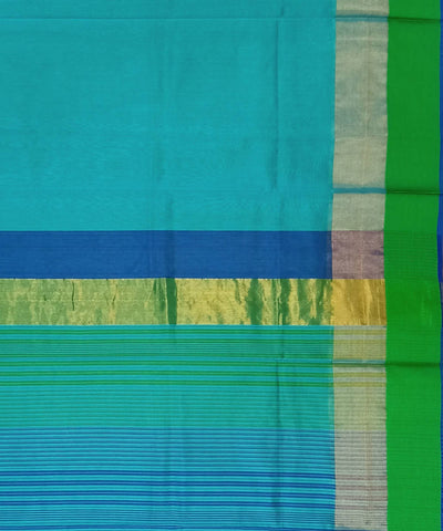 Maheshwari Sky Blue Handwoven Cotton Silk Saree
