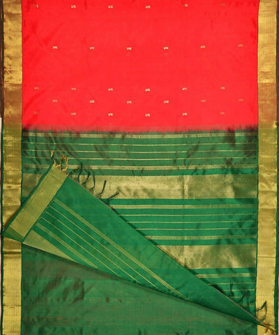 Red and green kanjivaram silk cotton saree