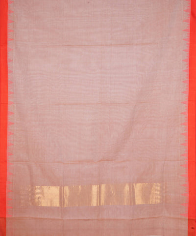 Beige Brown Handloom Kuppadam Cotton Saree