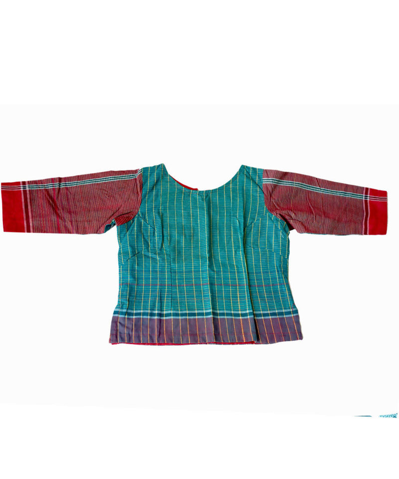 Turquoise Red Handwoven Gamcha Checks Cotton Crop Top Blouse