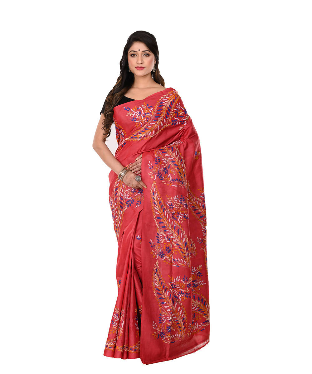 Kantha Hand stitched Dark Red Silk Saree