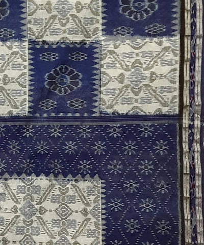 Offwhite and Blue Nuapatna Handwoven Cotton Saree