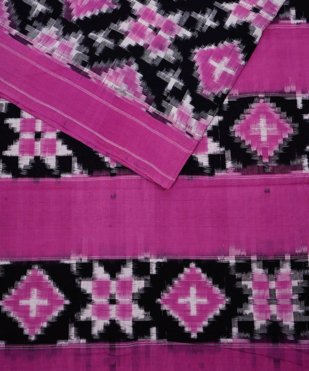 Purple Pink Ikkat Telia Rumal Cotton Saree