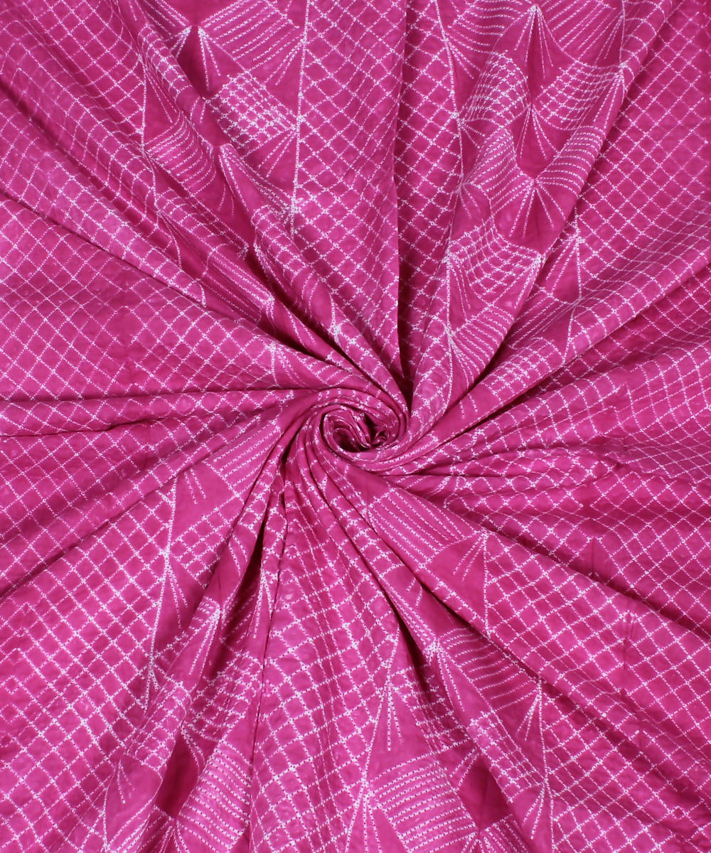 Cotton Pink Shibori Print Kurta Fabric