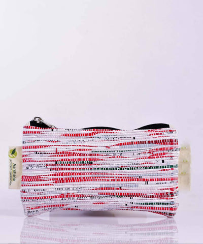 White Red Upcycled Handmade Pencil Pouch