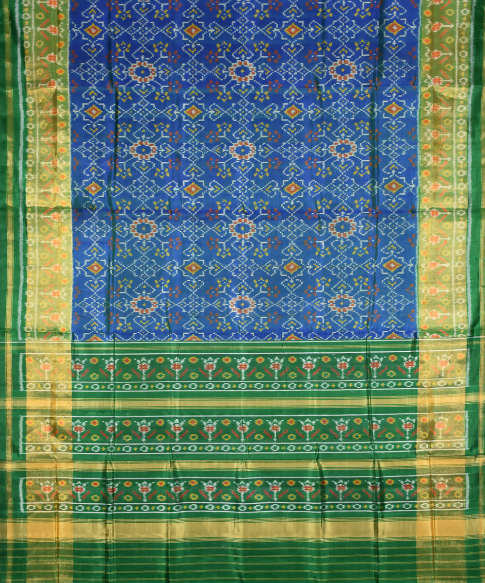 Patola blue green Handloom Silk Ikat Saree