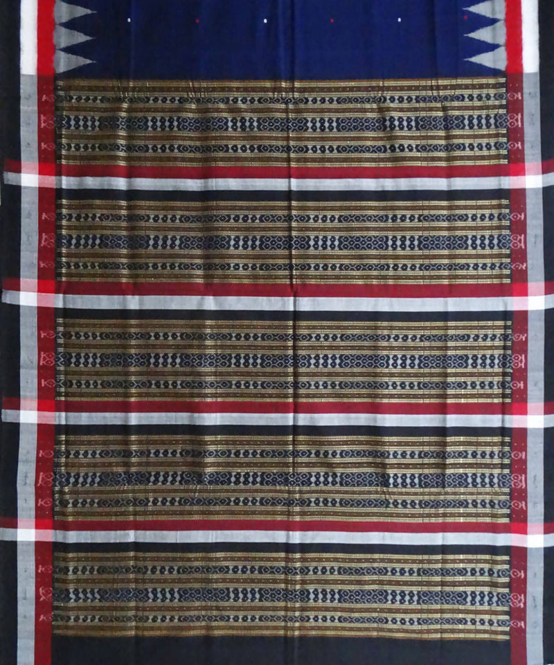 Handloom Blue Bomkai Cotton Saree