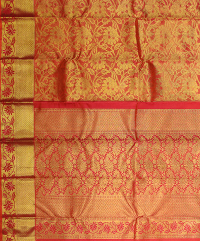 orange handloom kanjvaram tissue brocade silk saree