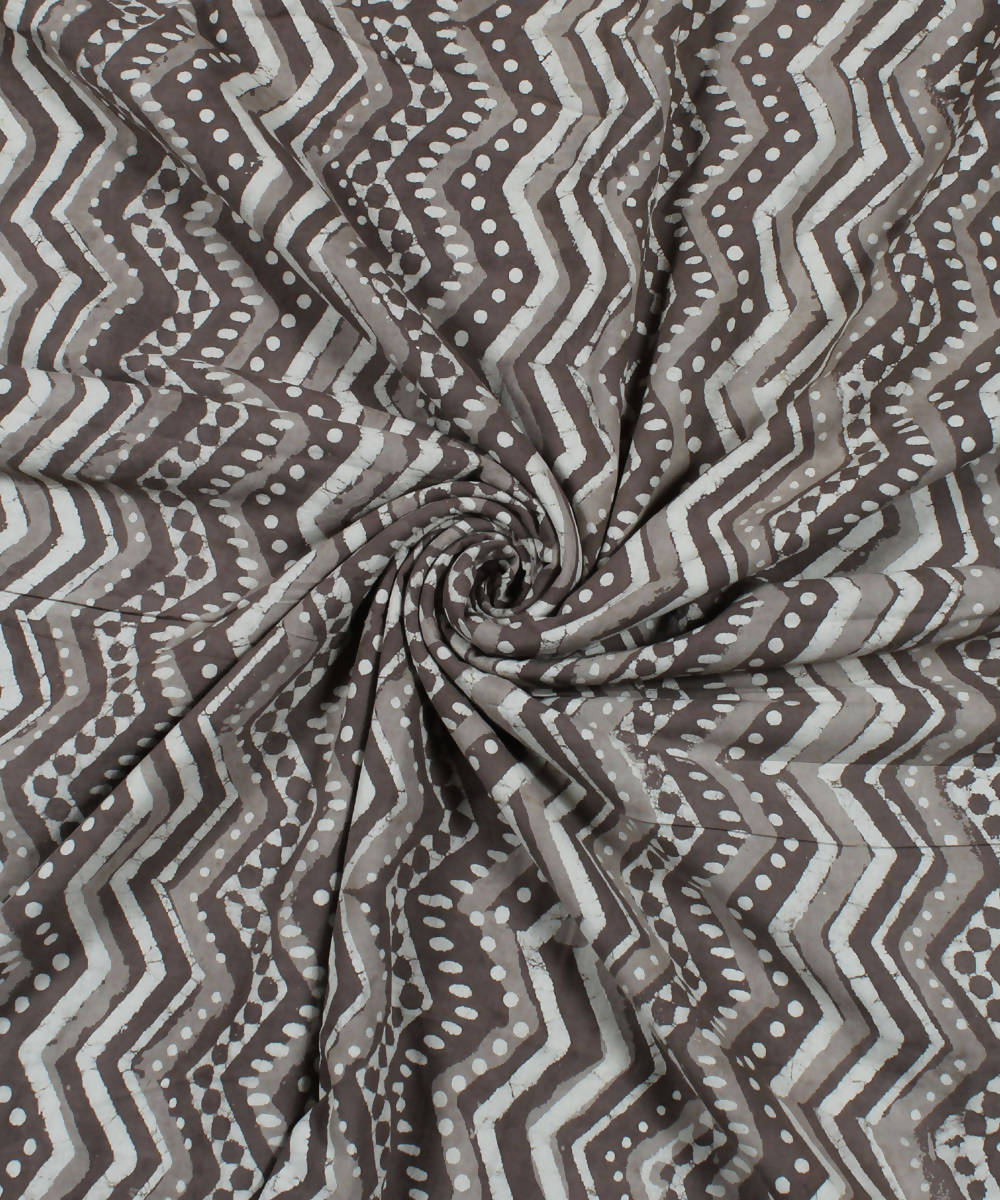Brown Handblock Dabu Print Cotton Fabric