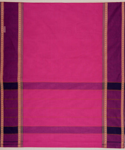 Pink Purple Broad Border Handloom Kanchi Cotton Saree