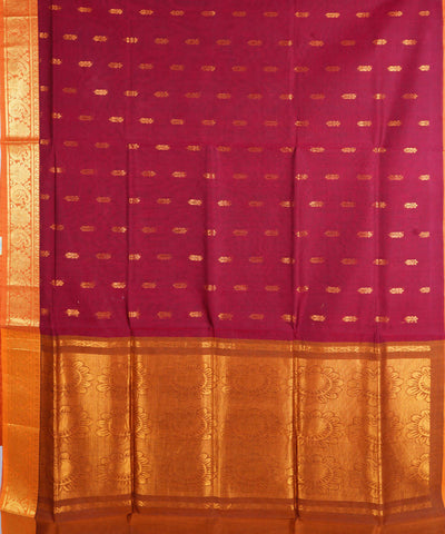 Magenta Handwoven Venkatagiri Cotton Saree