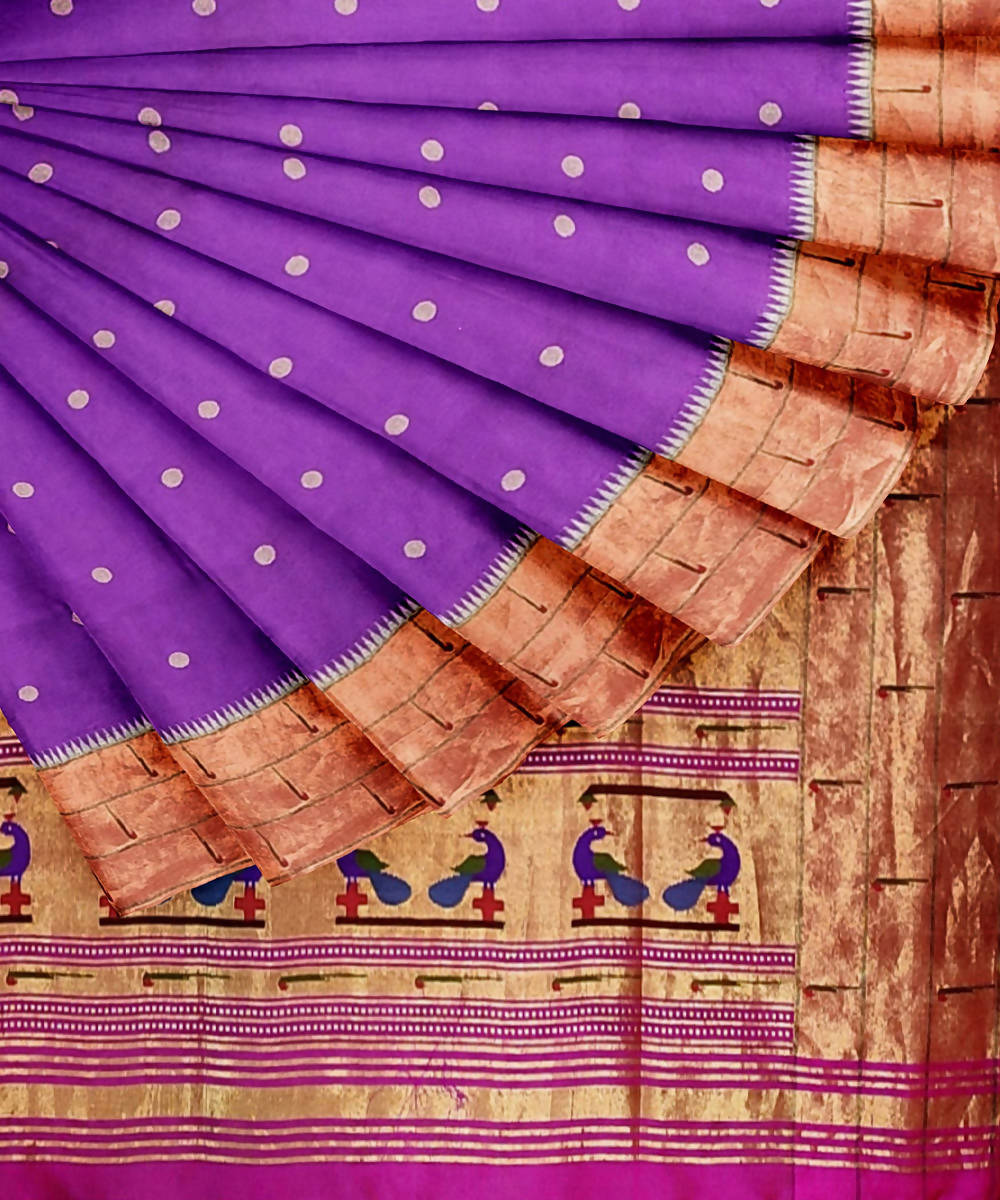 Paithani handwoven purple silk saree