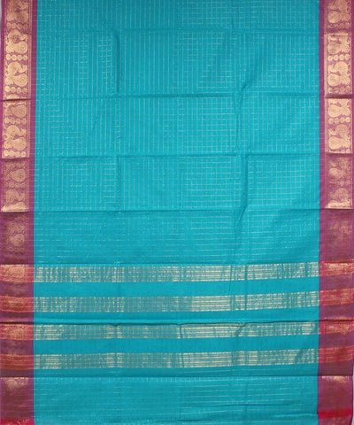 Turquoise Blue Handloom Tamil Nadu Cotton Saree