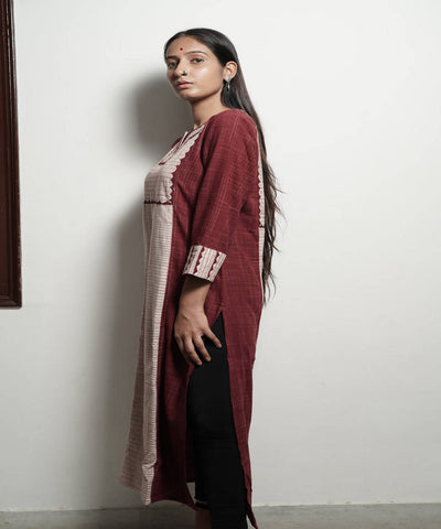 Maroon ikkat with applique tanka work long cotton kurta