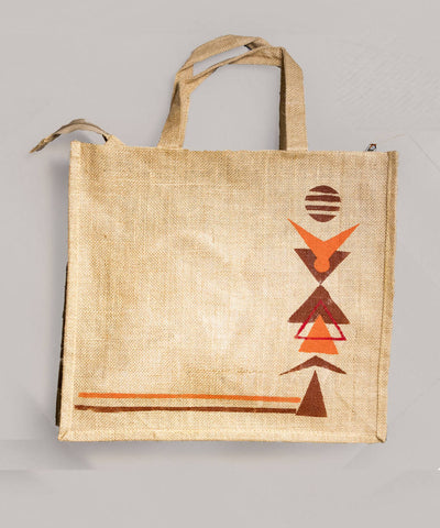 Beige Jute Shopping Bag with Hand Painted Warli Art