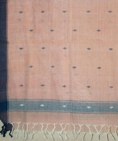 Light Peach Handspun Handwoven Cotton Jamdani Dupatta