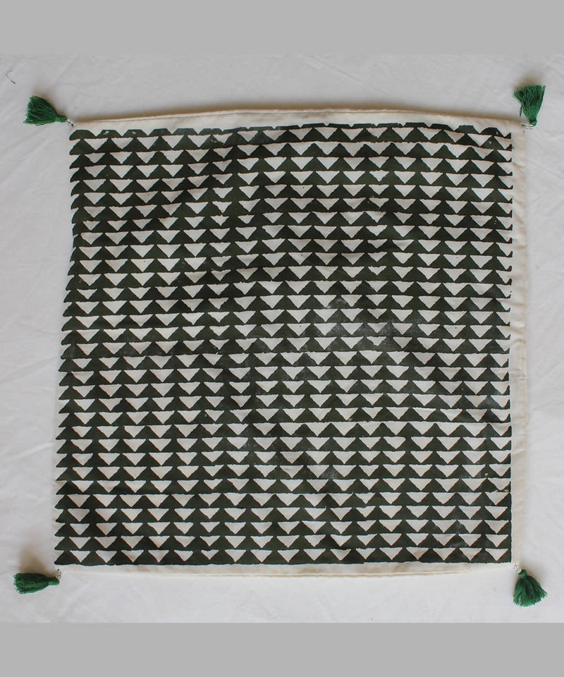 Handblock printed green cotton cushion cover